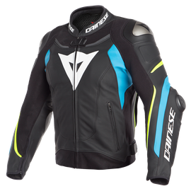SUPER SPEED 3 LEATHER JACKET BLACK/FIRE-BLUE/FLUO-YELLOW- Cuir