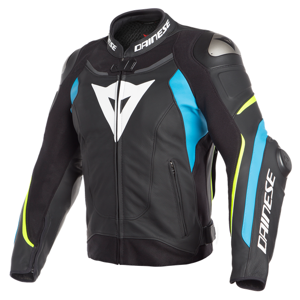 SUPER SPEED 3 LEATHER JACKET BLACK/FIRE-BLUE/FLUO-YELLOW- Piel
