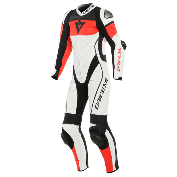 IMATRA LADY LEATHER 1PC SUIT PERF. WHITE/FLUO-RED/BLACK- Women