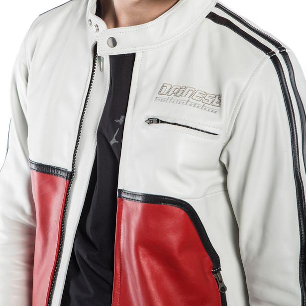 TOGA72 LEATHER JACKET WHITE-S/RED- Motorbike