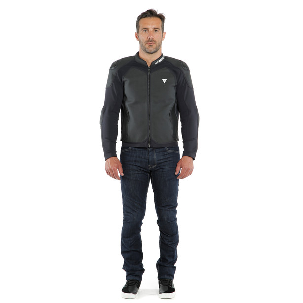 INTREPIDA PERF. LEATHER JACKET BLACK-MATT/BLACK-MATT/BLACK-MATT- Cuir