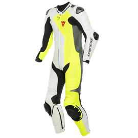 ADRIA 1PC LEATHER SUIT PERF. WHITE/FLUO-YELLOW/ANTHRACITE