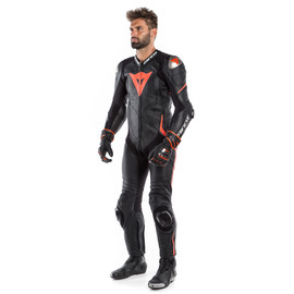 LAGUNA SECA 4 1PC PERF. LEATHER SUIT BLACK/BLACK/FLUO-RED- Sonderangebote Lederkombi