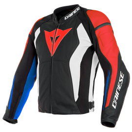 NEXUS LEATHER JACKET BLACK/LAVA-RED/WHITE/BLUE