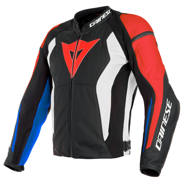 NEXUS LEATHER JACKET BLACK/LAVA-RED/WHITE/BLUE- Leder