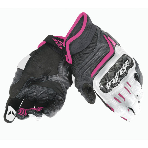 CARBON D1 SHORT LADY GLOVES BLACK/WHITE/FUCHSIA- Cuir