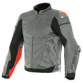 SUPER RACE LEATHER JACKET CHARCOAL-GRAY/CH.-GRAY/FLUO-RED