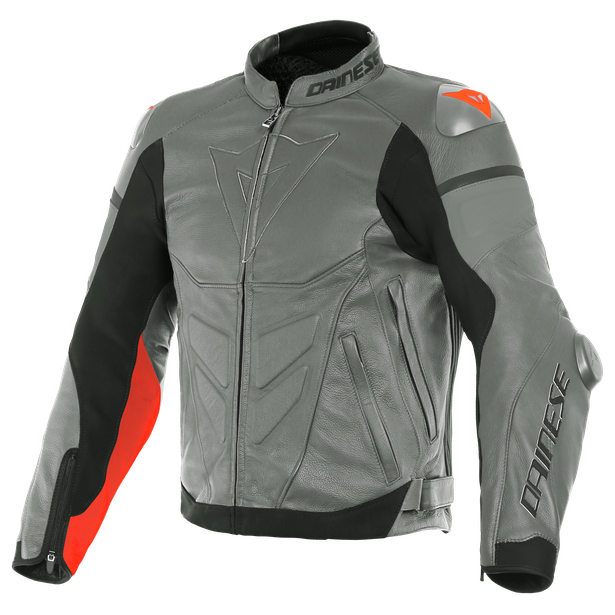 SUPER RACE LEATHER JACKET CHARCOAL-GRAY/CH.-GRAY/FLUO-RED- Leather