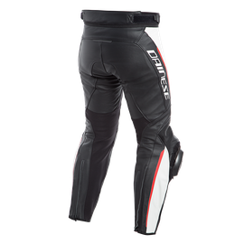 DELTA 3 PERF. LEATHER PANTS BLACK/WHITE/RED- Leather